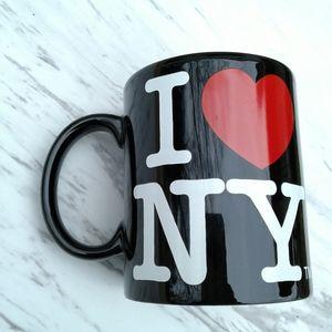 I heart NY black coffee mug cup w/ red heart